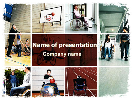 Disabled People PowerPoint Template, 06256, Sports — PoweredTemplate.com