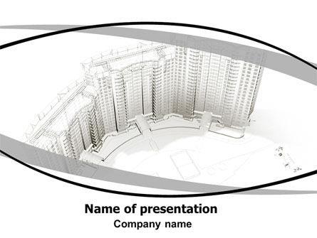 Building Draft PowerPoint Template, 06259, Construction — PoweredTemplate.com