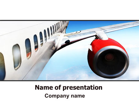 Cars and Transportation: Commercial Airliner In Flight PowerPoint Template #06263
