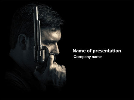 Legal: Man with a Gun PowerPoint Template #06270