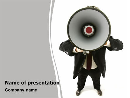 Careers/Industry: Speaker With Megaphone PowerPoint Template #06285