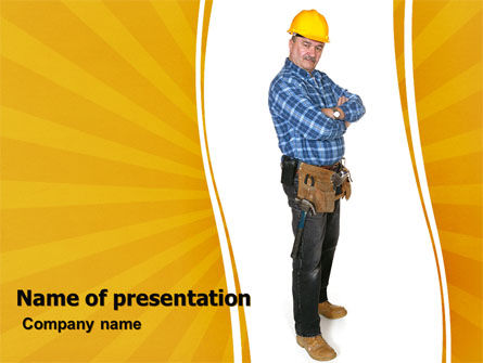 Careers/Industry: Builder With A Tool Belt PowerPoint Template #06296