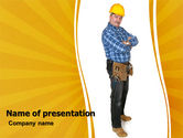 Builder With A Tool Belt PowerPoint Template#1