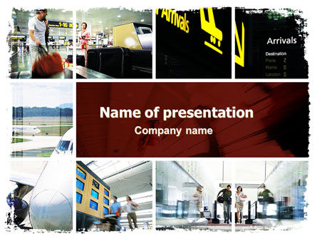 Cars and Transportation: Airport Arrival PowerPoint Template #06334
