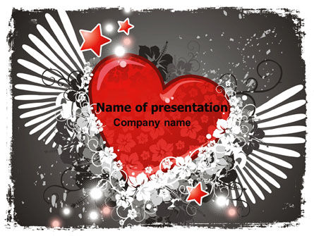 Holiday/Special Occasion: Flying Heart PowerPoint Template #06344