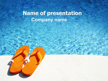 Slippers On A Pool Skirting Powerpoint Template, Backgrounds