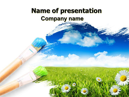 Nature & Environment: Painting Summer PowerPoint Template #06354