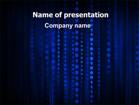 Blue Binary Code PowerPoint Template, 06362, Technology and Science — PoweredTemplate.com