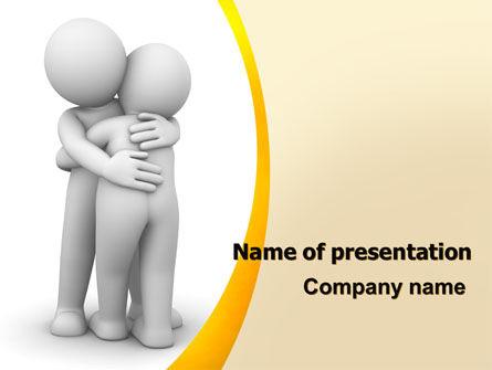 Religious/Spiritual: Hugging PowerPoint Template #06372