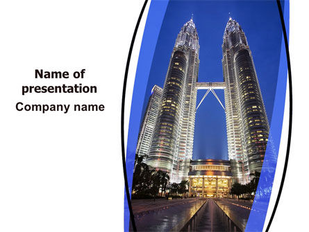 Petronas Twin Towers PowerPoint Template, 06375, Construction — PoweredTemplate.com