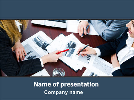 Consulting: Pie Chart Discussion PowerPoint Template #06390