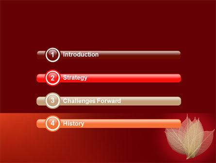 Red Dry Leaves PowerPoint Template, Slide 3, 06399, Nature & Environment — PoweredTemplate.com