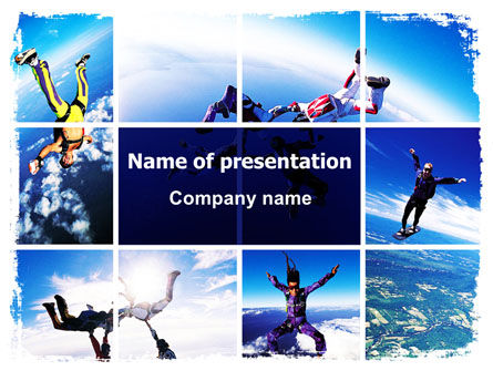 Sky Diving PowerPoint Template, 06404, Sports — PoweredTemplate.com