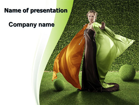 Eco Girl PowerPoint Template, 06406, Nature & Environment — PoweredTemplate.com