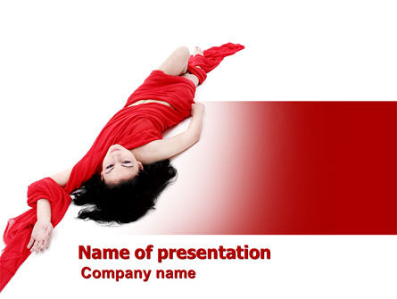 People: Red Dress Fashion Girl PowerPoint Template #06425