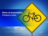 Cars and Transportation: Yellow Bicycle Road PowerPoint Template #06426