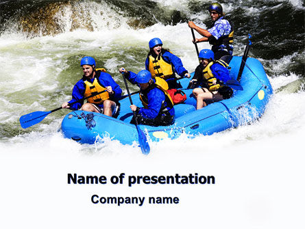 Sports: Whitewater Rafting PowerPoint Template #06429