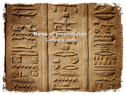 Education & Training: Egyptian Petroglyphs PowerPoint Template #06448