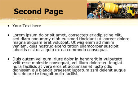 Concrete Agitator PowerPoint Template, Slide 2, 06449, Construction — PoweredTemplate.com