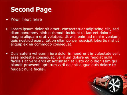 Red Supercar PowerPoint Template, Slide 2, 06454, Cars and Transportation — PoweredTemplate.com