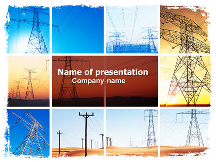 Utilities/Industrial: Transmission Lines PowerPoint Template #06482