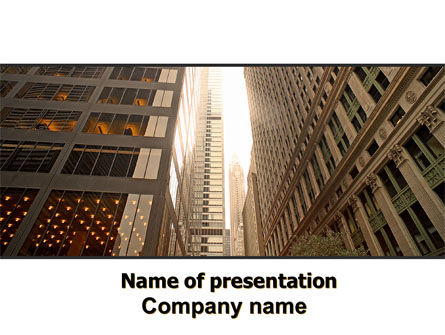 Construction: Downtown Wolkenkrabbers PowerPoint Template #06489