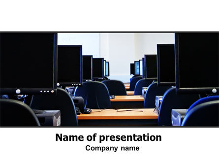 Education & Training: Computer Workstations PowerPoint Template #06494