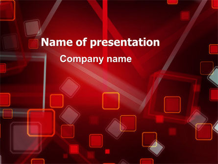 Red Squares Abstract PowerPoint Template