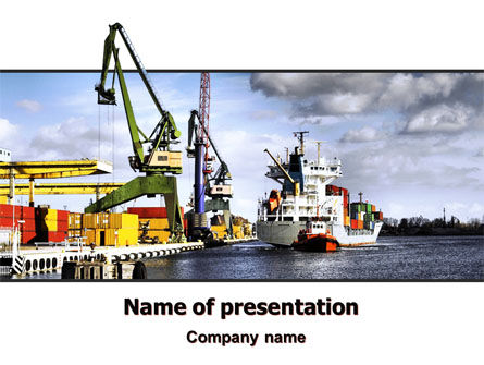 Shipyard PowerPoint Template, 06499, Cars and Transportation — PoweredTemplate.com