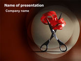 Careers/Industry: Ribbon And Scissors PowerPoint Template #06506