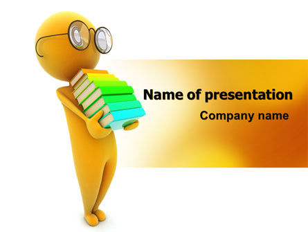 Education & Training: Man With A Stack Of Book PowerPoint Template #06524