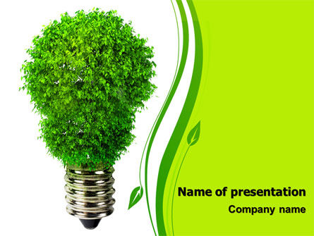 Green Eco Lamp PowerPoint Template, 06530, Technology and Science — PoweredTemplate.com