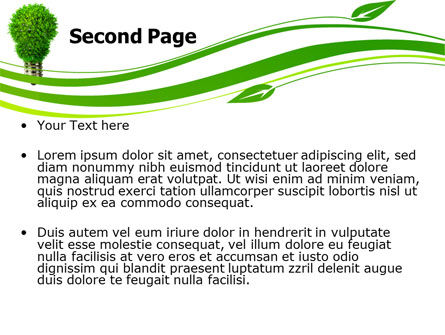 Green Eco Lamp PowerPoint Template, Slide 2, 06530, Technology and Science — PoweredTemplate.com