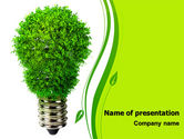 Technology and Science: Green Eco Lamp PowerPoint Template #06530