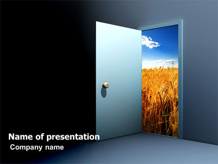 Open Door To The World PowerPoint Template, 06533, Consulting — PoweredTemplate.com