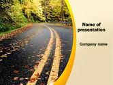 Construction: Autumn Road PowerPoint Template #06536