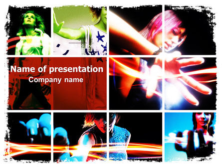 Art & Entertainment: Templat PowerPoint Gadis Neon #06577
