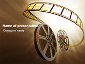 Art & Entertainment: Film Reel In Light Brown Color PowerPoint Template #06599