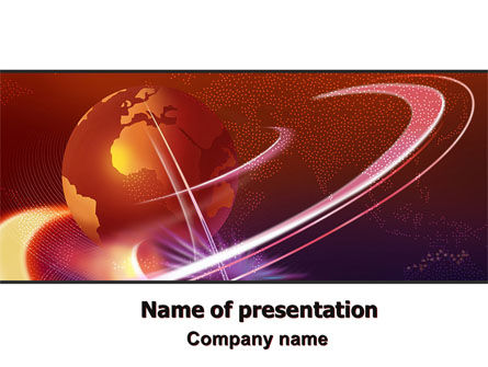 Red Globe In The Ring PowerPoint Template, 06607, Global — PoweredTemplate.com