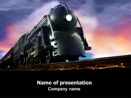 Cars and Transportation: Steam Locomotive PowerPoint Template #06610