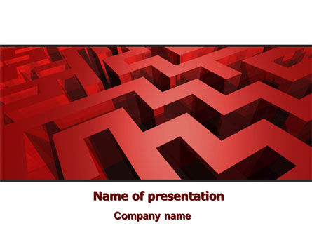 Red Maze PowerPoint Template