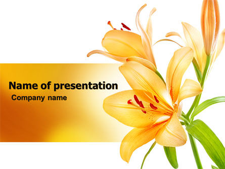 Yellow Lily PowerPoint Template, 06649, Holiday/Special Occasion — PoweredTemplate.com