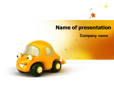 Holiday/Special Occasion: Orange Speelgoedauto PowerPoint Template #06656