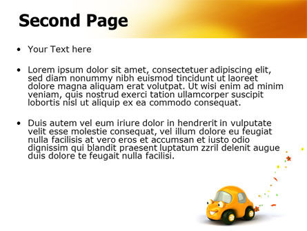 Orange Toy Car PowerPoint Template, Slide 2, 06656, Holiday/Special Occasion — PoweredTemplate.com