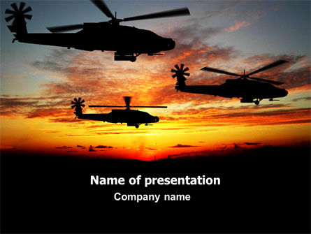 Apache Helicopter AH-64 PowerPoint Template, 06658, Military — PoweredTemplate.com