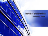 Construction: Blue Glass Skyscraper PowerPoint Template #06662