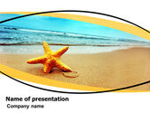 Nature & Environment: Starfish On The Beach PowerPoint Template #06668