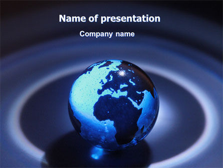 Global: Blue World Globe PowerPoint Template #06669