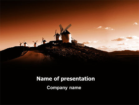 Nature & Environment: La Mancha's Windmills Free PowerPoint Template #06670