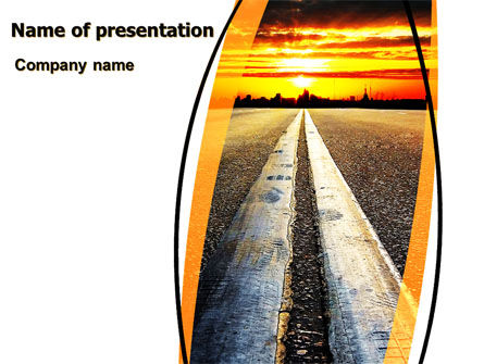 Cars and Transportation: Plantilla de PowerPoint - camino a la ciudad del atardecer #06674